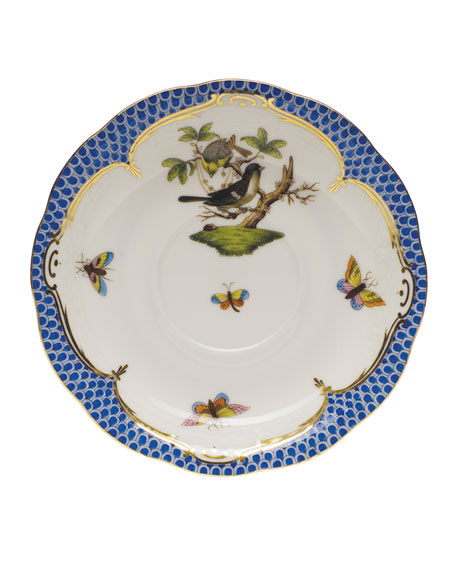 Herend Rothschild Bird Blue Border Saucer #1