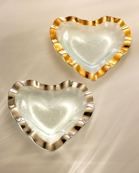 "Ruffle Gold 8"" Heart Bowl"