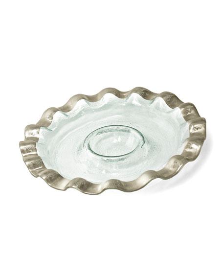 Annieglass Ruffle Platinum Chip & Dip Server