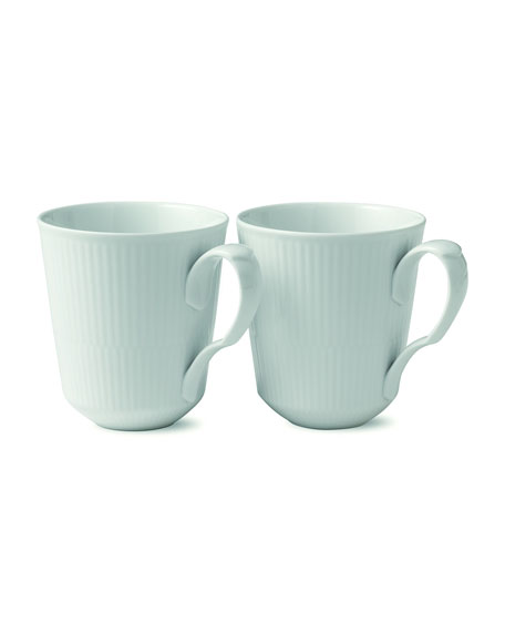 White Fluted Mug Pair