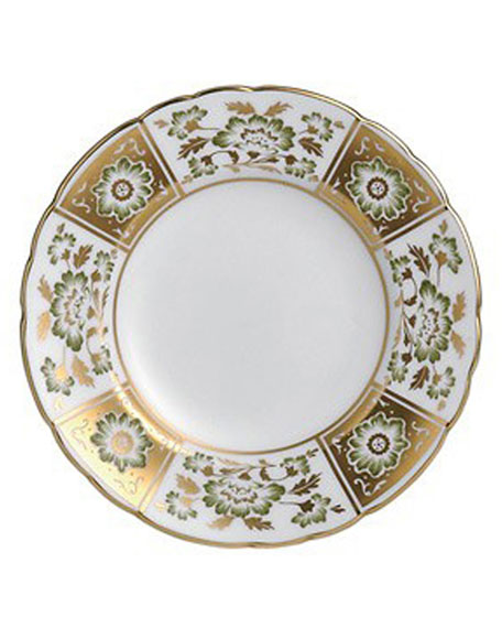 Derby Panel Green Bread & Butter Plate