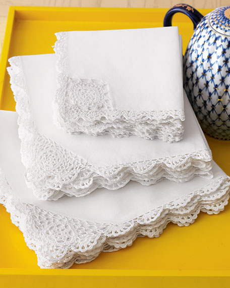 12 Crochet-Trim Tea Napkins