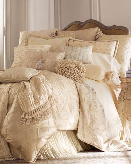 """Lattice/Faux-Pearl European Pillow, 26""""Sq."""