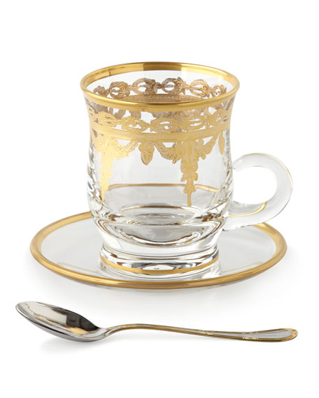 Four Vetro Gold Cups & Saucers