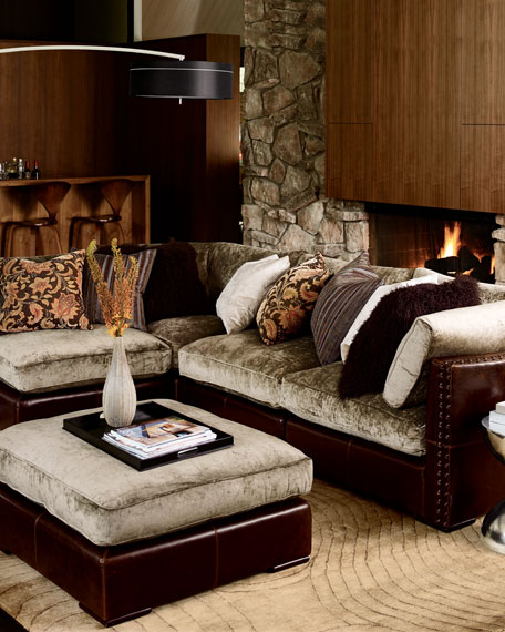 Chenille & Leather Sectional Sofa, Five-Piece Set