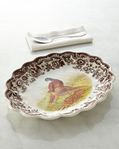 "Spode Woodland Fluted Pheasant Platter, 14.5"" x 15"""