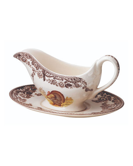 Spode Two-Cup Woodland Turkey Gravy Boat & Stand
