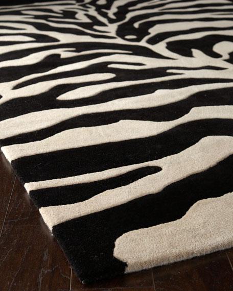 Fair Ivory Zebra Rug, 6' Square
