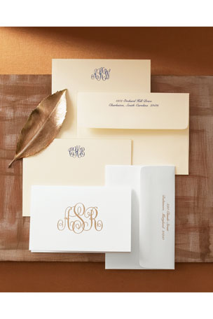 Boatman Geller 25 Monogrammed Note Sheets with Personalized Envelopes
