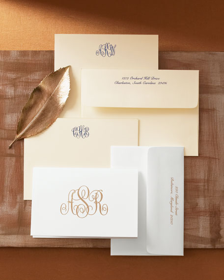 25 Monogrammed Folded Notes with Plain Envelopes