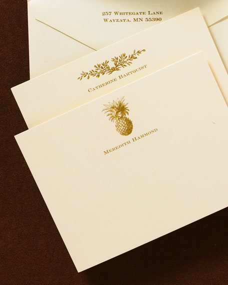 50 Ivory & Gold Correspondence Cards with Plain Envelopes
