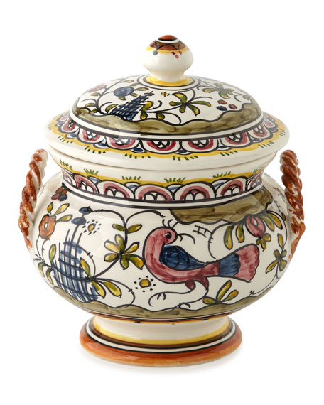Keramos Nazari Each Pavoes Covered Soup Tureen