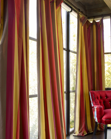 "Each Odessa Striped Curtain, 84""L"