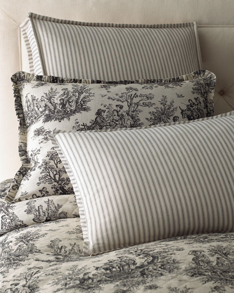 "Sydney Square Toile Pillow with Piping, 18""Sq."