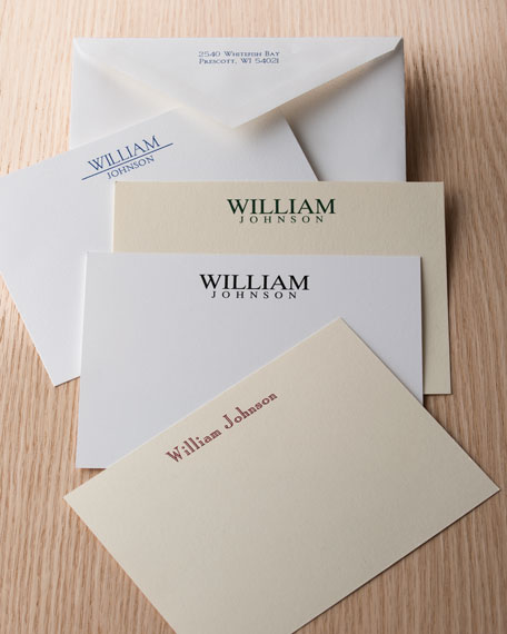 Carlson Craft 50 Masculine Correspondence Cards with Personalized