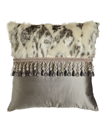 Penthouse Suite Faux-Fur & Silk Pillow, 20