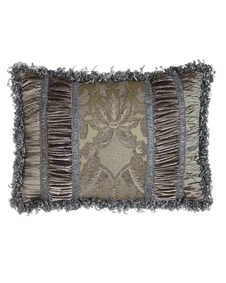 "Penthouse Suite Pieced Pillow with Damask Center, 14"" x 20"""