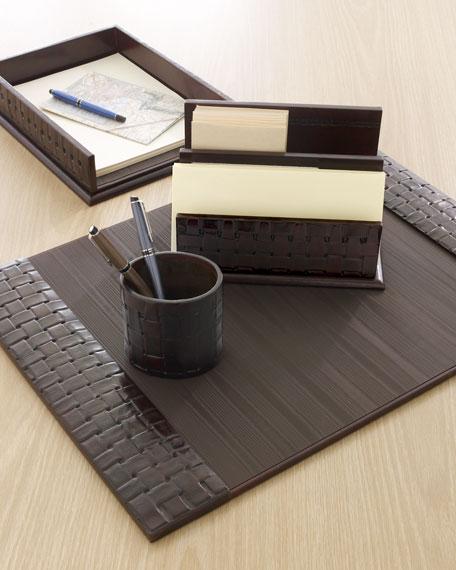 Neimanmarcus Woven Leather Document Tray