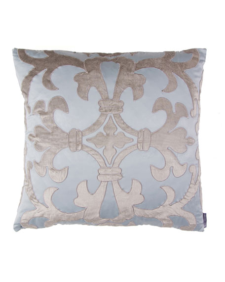 "Blue/Silver Olivia Applique Pillow, 22""Sq."