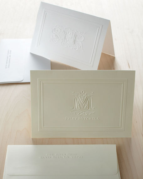 25 Ornate Name Folded Notes with Personalized Envelopes
