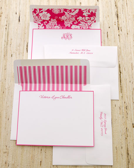 25 Hot-Pink-Bordered Notes with Plain Envelopes