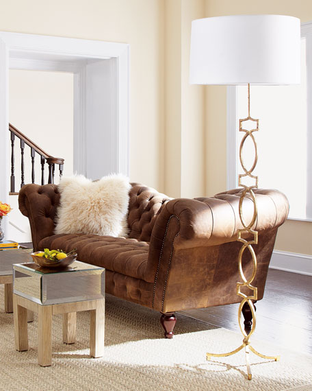 Oak Leather Recamier Sofa