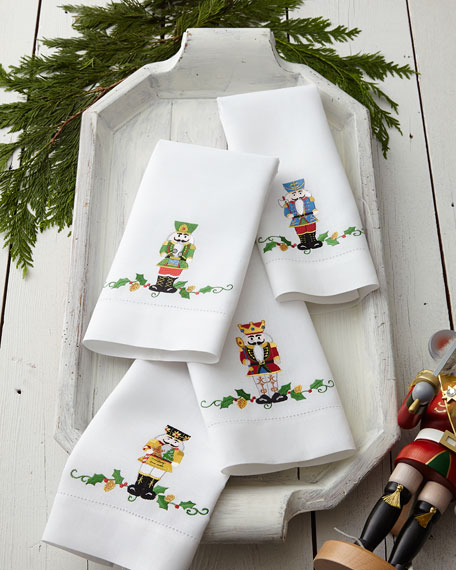 Four Nutcracker Holiday Guest Towels