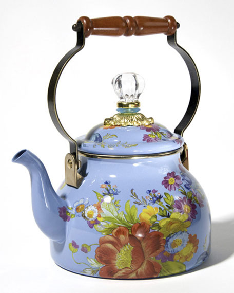 Flower Market Blue Two-Quart Tea Kettle