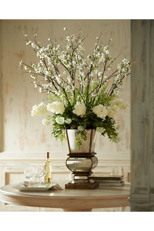 John-Richard Collection Ivory Arrangement in Mirrored Planter