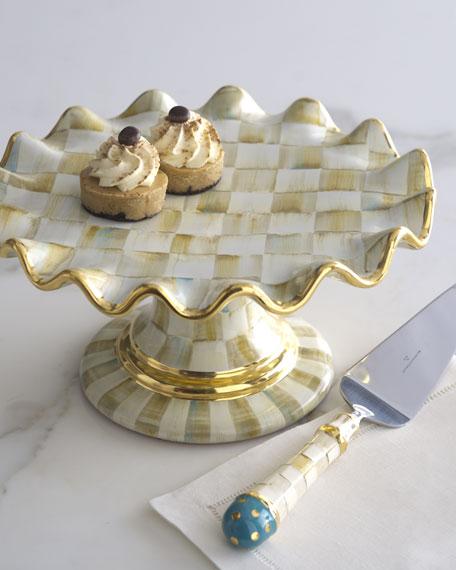 MacKenzie-Childs Parchment Check Dessert Stand