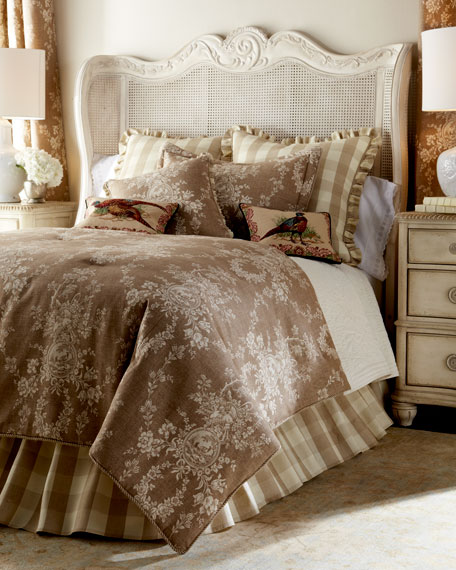 Sherry Kline Home Country House Toile/Check Reversible Pillow,