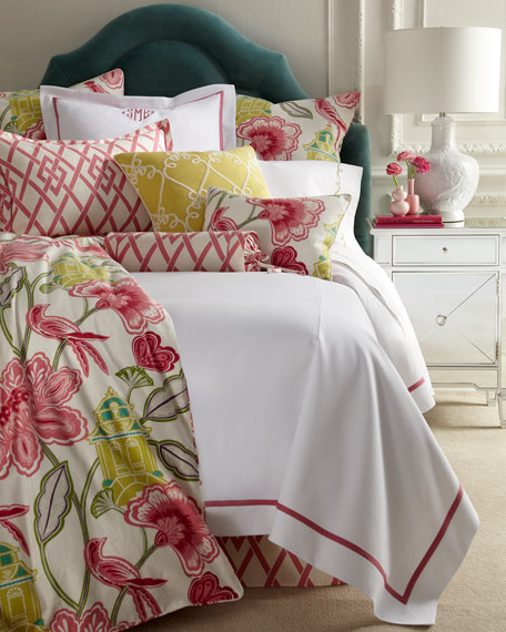 Queen Garden Gate Coverlet with Pink Trim