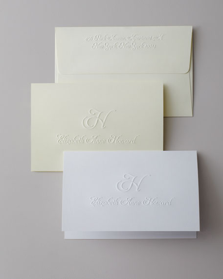 25 Script Initial & Name Folded Notes with Plain Envelopes