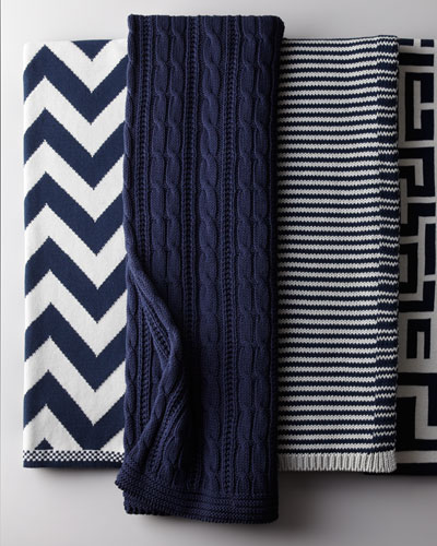 Cable-Knit Navy Cotton Throw