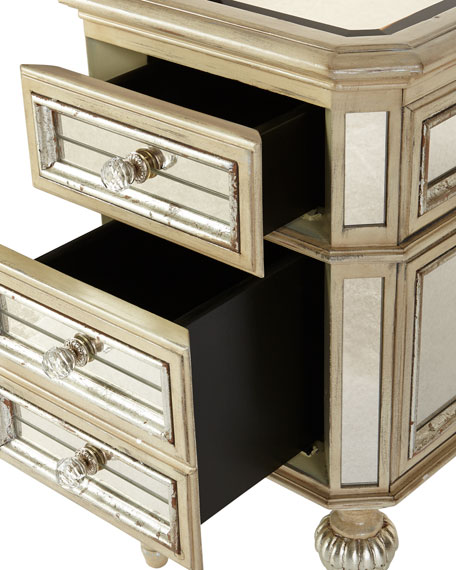 Neimanmarcus Dresden Mirrored Side Table