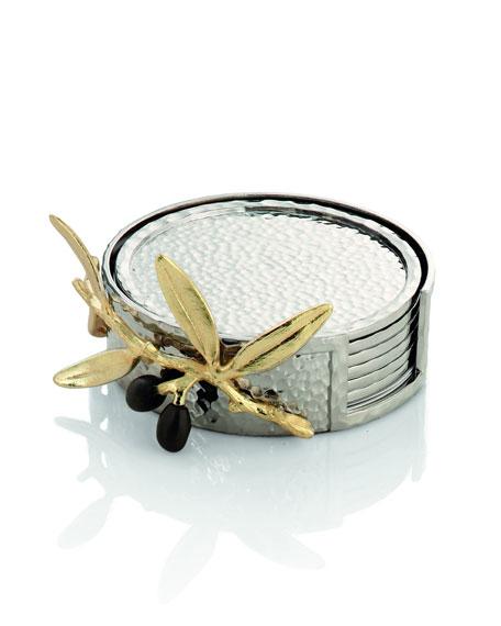 Michael Aram Golden Olive Branch Coaster Set