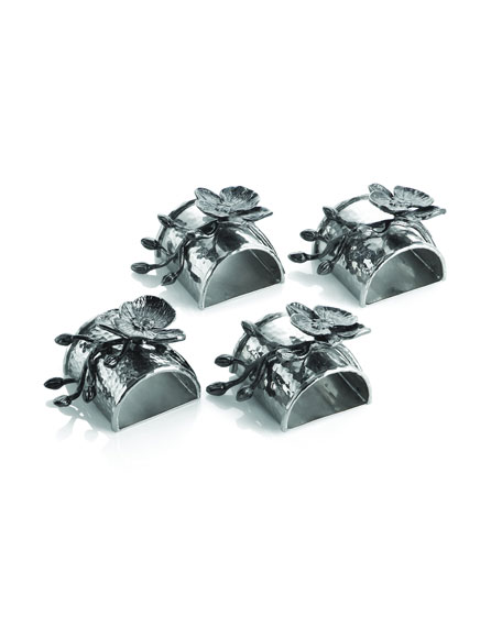 Michael Aram Four Black Orchid Napkin Rings