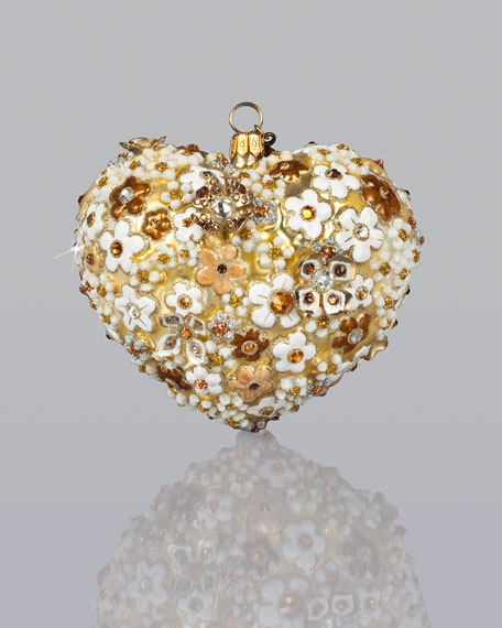 """Blossom Heart"" Glass Christmas Ornament"