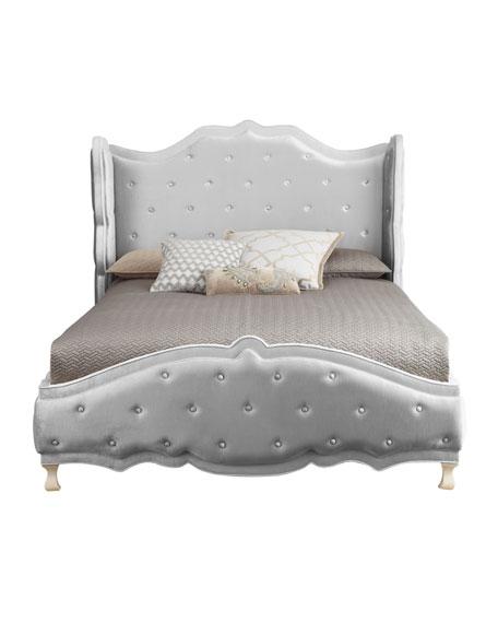 "Silver ""Tabitha"" California King Tufted Bed"