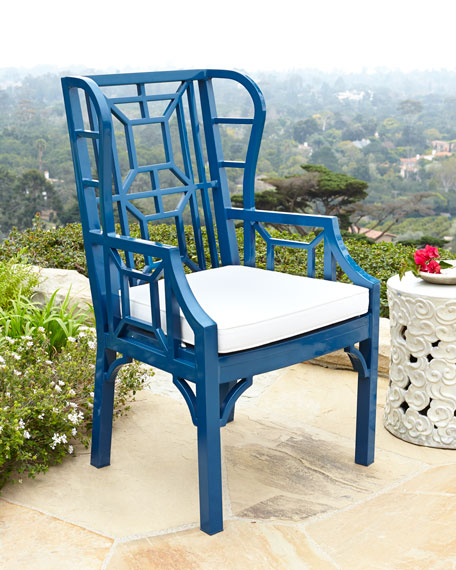 Tamsin White Chinoiserie Outdoor Wing Chair