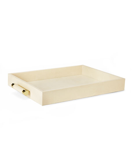 Cream Shagreen Rectangular Tray