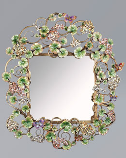 Jay Strongwater Corlander Floral Scroll Wall Mirror