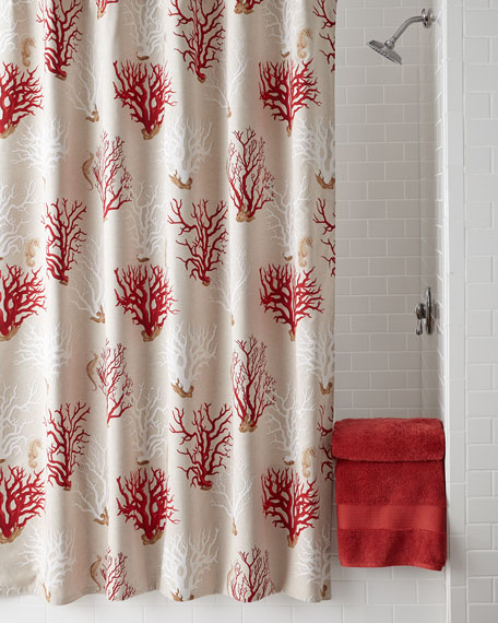 """""""Red Coral"""" Shower Curtain"""