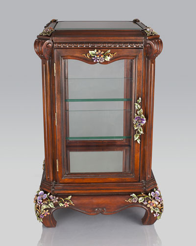Jay Strongwater Floral & Vine Curio Cabinet
