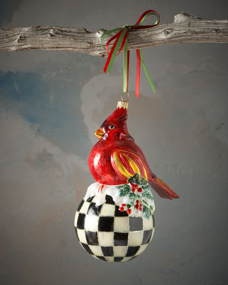 Cardinal on Courtly Check Ball Christmas Ornament