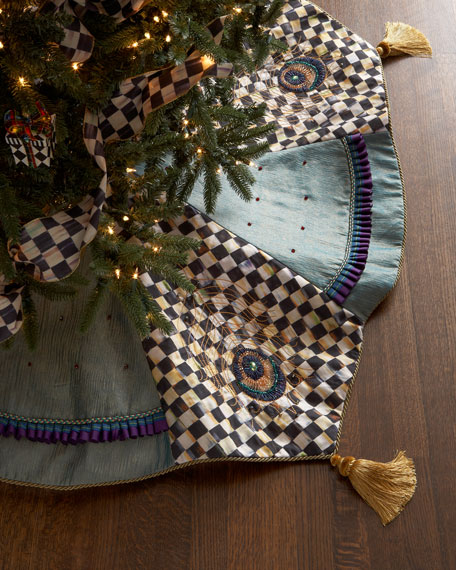 Jeweled Peacock Christmas Tree Skirt