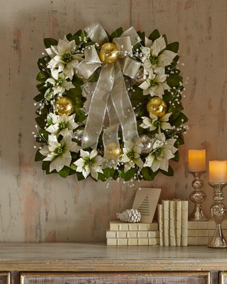 Square Poinsettia Wreath