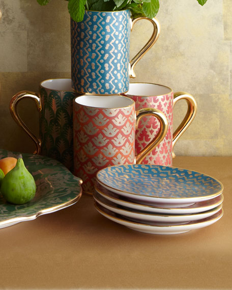 Four Assorted Fortuny Canape Plates
