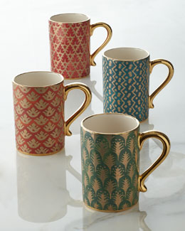 L'Objet Four Assorted Fortuny Mugs