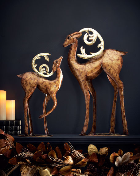 Two Deer with Curved Antlers